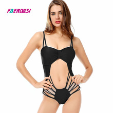 Faerdasi New One Piece Swimsuit Women Swimwear Sexy Bandage Bathing Suit Backless Cut Out Monokini Bodysuit Beach Wear Beachwear