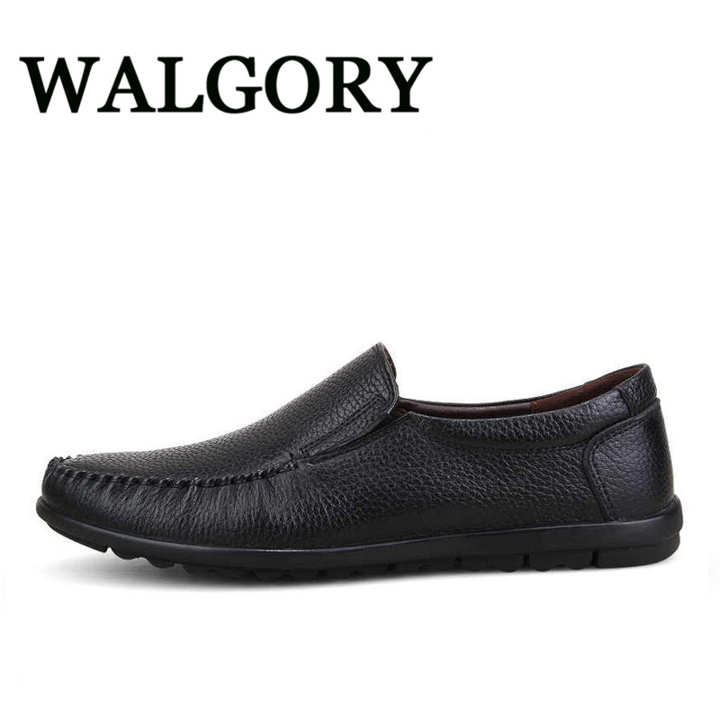 WALGORY Genuine Leather Mens Casual Shoes Slip On Cowhide Male Handmade Shoes Men Drving Loafer Flats Breathable Soft Large Size goodster handmade men flats leather outsole men leather shoes business casual dress shoes slip on python shoes handmade