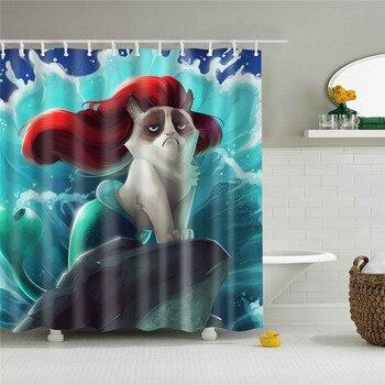 Cortina de ducha impermeable para baño con estampado divertido de sirena, cortinas...