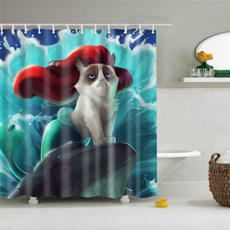 Wasserdicht Dusch Vorhang Für Badezimmer Lustige Meerjungfrau Print Badewanne Vorhänge Opaque Polyester Bad Vorhang mit 12 stücke haken