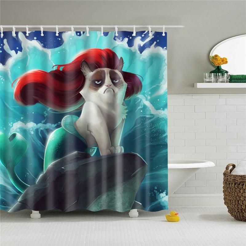 Waterproof Shower Curtain For Bathroom Funny Mermaid Print Bathtub Curtains Opaque Polyester Bathroom Curtain With 12 Pcs Hooks