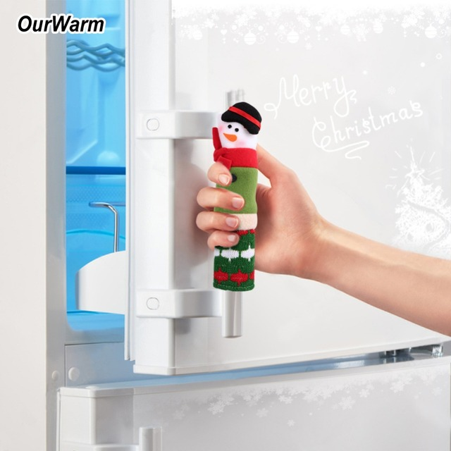 OurWarm 3pcs/lot Refrigerator Door Handle Cover 23*4cm/23*6cm Christmas
