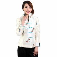 Promotion White Chinese Women Satin Jacket Embroidery Coat Single Breasted Overcoat Chaquetas Mujer S M L