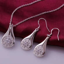 Silver plated noble luxury elegant high quality water drops zircon two piece sets hot selling classic models silver jewelry S685