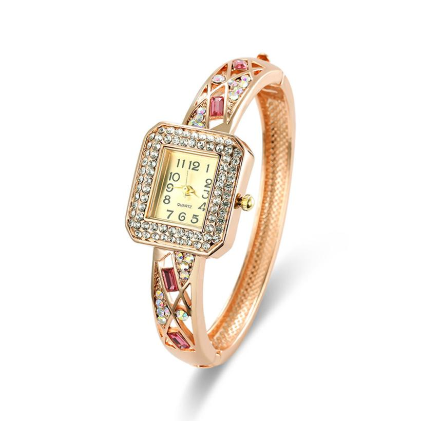 Clock Watch Women Vintage Rhinestone Crystal Bracelet Dial Analog Quartz Wrist Watch Lady Dress Elegant Popular Temperament M/4 fashion dress watch elegant crystal dial red faux leather band strap blink quartz analog casual lady women wrist watch stylish