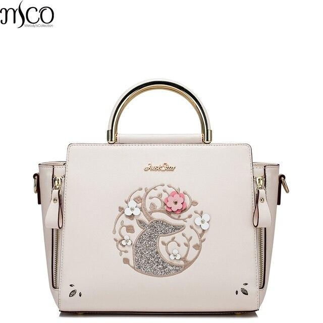 2017 Summer Luxury Sequined Reindeer Women Satchel Handbag Flower Embroidery Shoulder Bag Leather Smile Tote Bags For OL Ladies