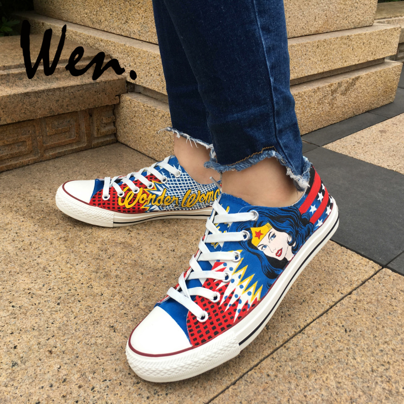 Wen Hot Sale Hand Painted Shoes Design Custom Low Top Wonder Woman Boys  Girls High Top Canvas Sneakers for Men Women s Gifts c3567ed036b6