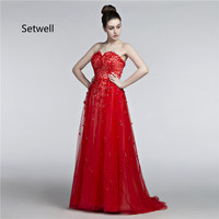Setwell 2017 Long Red Evening Dresses Sexy Strapless Backless Evening Gowns Applique Sequin Prom Dress Custom Made Dress