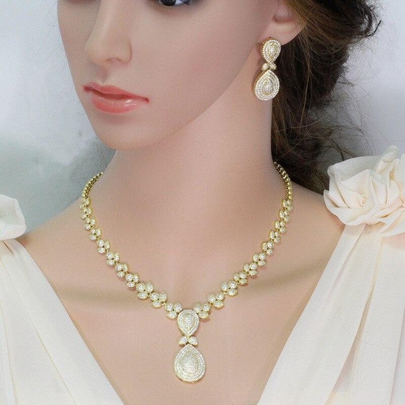 Ensembles de bijoux collier et boucles d'oreilles en or de dubaï bilinéaire pour femmes ensemble de bijoux de mariage rond nuptiale