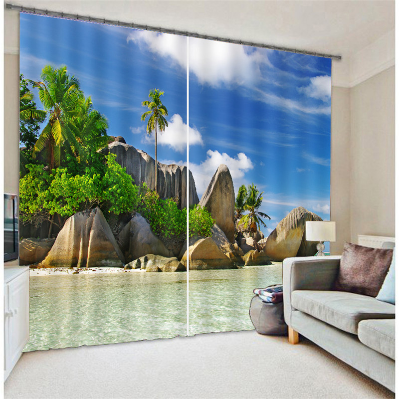Seaside Scenery 3D Painting Blackout Curtains Office Bedding Room Living Room Sunshade Window Curtain Bedding Custom-made SizeSeaside Scenery 3D Painting Blackout Curtains Office Bedding Room Living Room Sunshade Window Curtain Bedding Custom-made Size