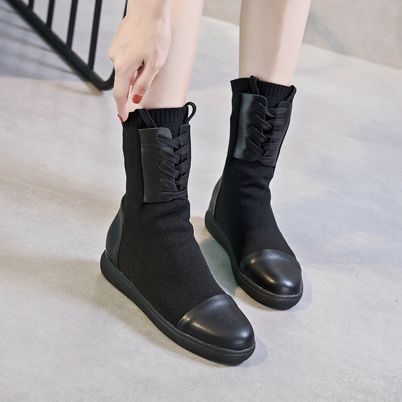 Women boots Autumn And Winter New Ankle Boots/shoes Boots Leather Hidden Wedge Platform Stretch Mid-Calf Casua