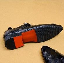 QYFCIOUFU New Classic Hasp Men Dress Shoes Genuine Leather Wedding Shoes Slip-On Men's Oxford Business Formal Shoes US Size 11.5