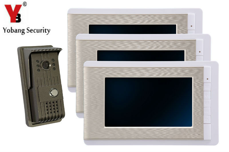YobangSecurity 7 Inch Video Door Phone Doorbell Video Entry System Intercom Home Security Kit 1camera 3monitor Night Vision yobangsecurity 7 inch tft lcd home security video door phone doorbell entry intercom kit 1 ir camera with night vision 1 monitor