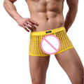2016 Ropa Interior Atractiva de Los Hombres de Moda Pantalones Cortos de Alta Calidad ropa de Dormir Mesh Hollow Out Boxeadores Sexo Lindo Ver A Través de Ropa