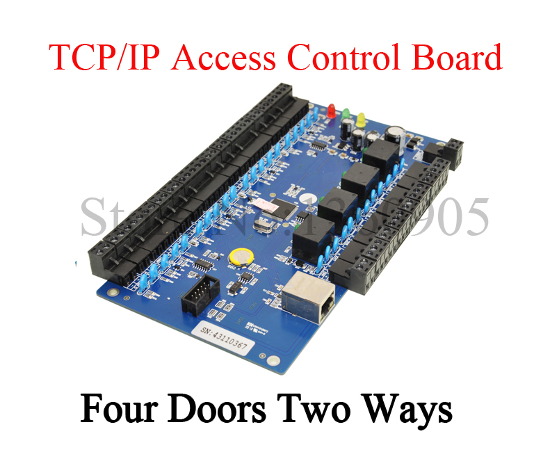 TCP/IP Network Intelligent Four Doors Two Ways Acess control Panel/4 relays Door Access Controller Board
