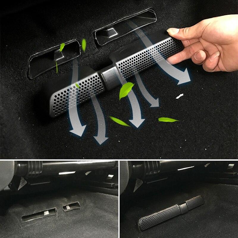 2 pçs capa de ar condicionado do carro para volkswagen vw tiguan mk2 allspace 2016 2017 sob assento traseiro ventilação ar duto tomada escudo