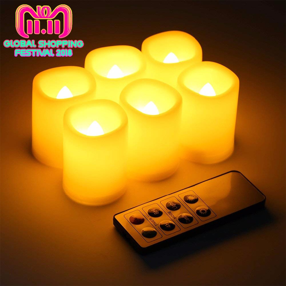 Kohree 6 Packs Realistic Led Candle Lights, Remote Timer Batteries Included Unscented Pillar Candles for Christmas Decoration frankincense and myrrh 4x6 pillar candles