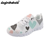 doginthehole Women Sport Running Shoes Hearts Geometrical Love Valentine Printing Outdoor Mesh Sneakers for Girls Flats Summer