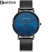 GEEKTHINK Top Luxury Brand Quartz Watches Men Full Stainless Steel Classic Milimalist Designer Wrsitwatch Wooden Face