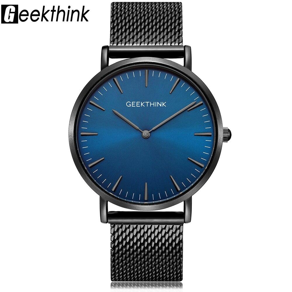 GEEKTHINK Top Luxury Brand Quartz Watches Men Full Stainless Steel Classic Milimalist Designer Wrsitwatch Wooden Face Clock Male