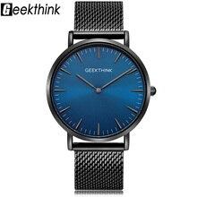 Geekthinkトップ高級ブランドクォーツ時計男性フルステンレス鋼クラシックmilimalistデザイナーwrsitwatch木製顔時計男性