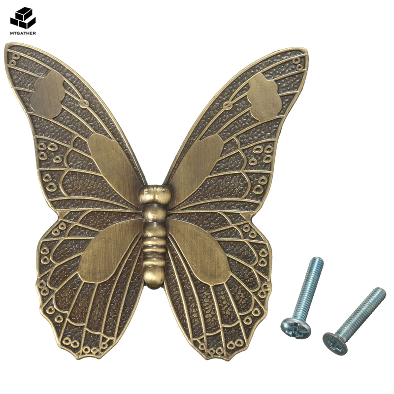 MTGATHER Zinc Alloy Vintage Bronze Butterfly Handle Cabinet Drawer Cupboard Wardrobe Door 2 Size S/L square shaped stylish crystal zinc alloy stud earrings black bronze pair