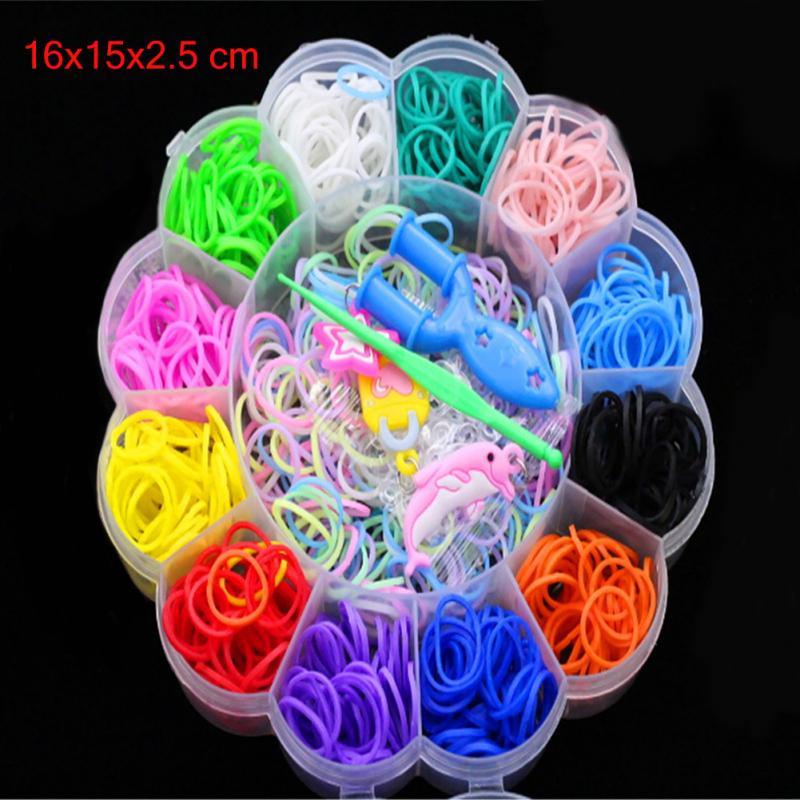 Colorful Rubber Loom Bands Weaving Braided Elastic Gum Tool DIY Charms Kit Box Kids Plaiting Toys For Bracelet Children Girls