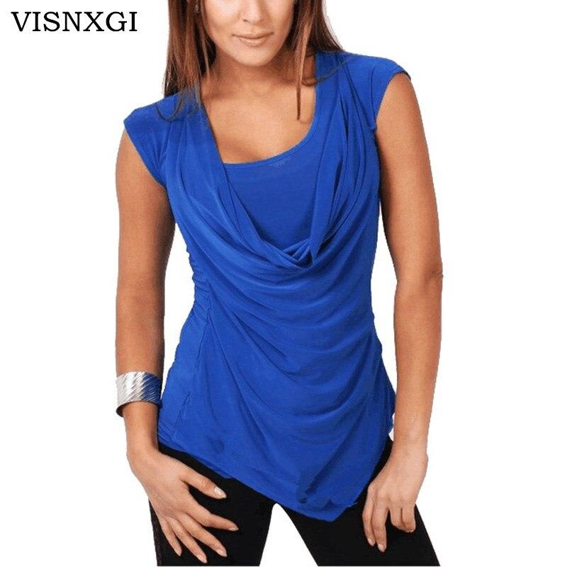 Женская блузка без рукавов VISNXGI, шифоновая офисная блузка без рукавов размера плюс S-5XL