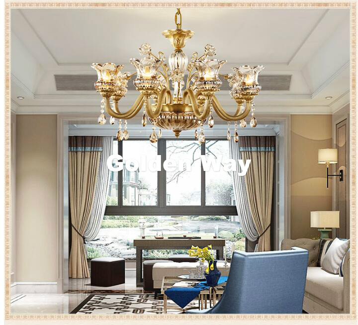 Free Shipping Antique Brass Copper Crystal Chandelier Lingting Luxurious LED AC Brass Crystal Lamp Lustre Suspension Lighting