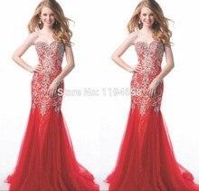 Rot Elegantes Abendkleid Für Partei Sweetheart Kristall Prom Kleider 2016 Freies Verschiffen Tulle-nixe vestidos de fiesta