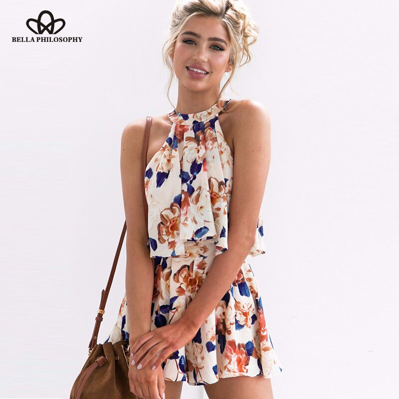 Bella philosophy summer women floral printedrompers halter 2 pieces tops and shorts sexy jumpsuits loose clubwear bow playsuits