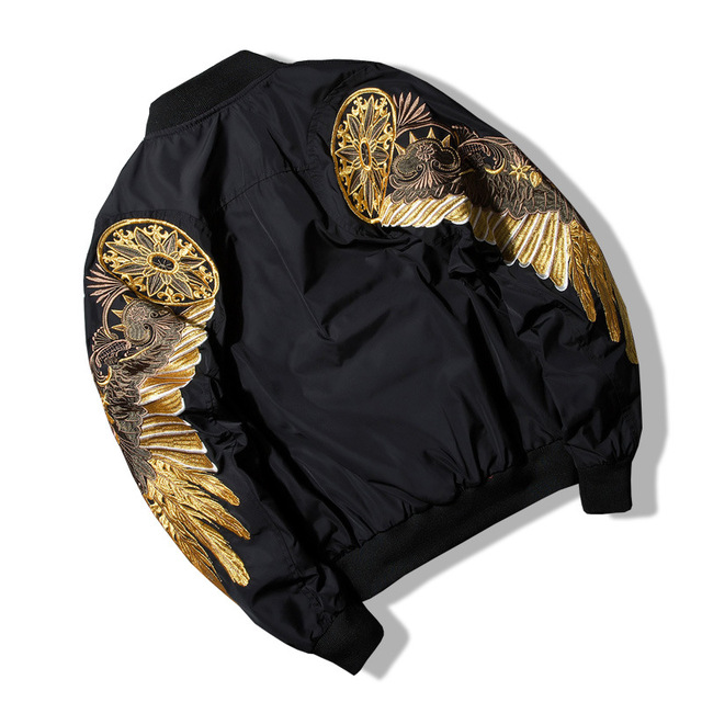 Top Quality Spring Bird Wings Embroidery Baseball Jacket Stand Collar Plus Size 3XL Bomber Coat Chaquetas Hombre DropShipping  3