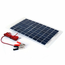 1 Set 10W 12V Polycrystalline Energy Solar Panel Battery Module + Alligator Clips For Water Pumps Electric Fans Lights