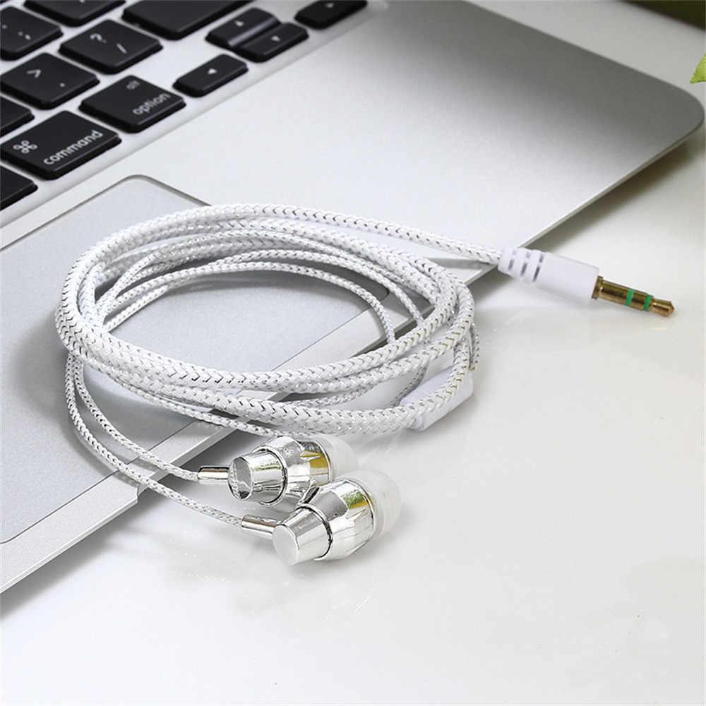 سماعات سلكية عالية الجودة العلامة التجارية الجديدة ستيريو في الأذن 3.5 مللي متر النايلون نسج كابل سماعة سماعة رأس مزودة بميكروفون لأجهزة الكمبيوتر المحمول الهاتف الذكي # Y10