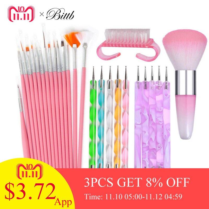 все цены на Bittb 15pcs Acrylic Nail Art Brush Pen UV Gel Nail Polish Painting Drawing Brushes Dotting Pen Kit Clean Brush Manicure Tool Set