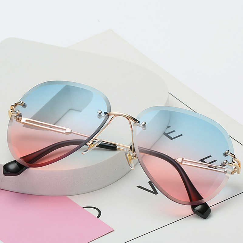 2019 New Brand Design Vintage Rimless Pilot Sunglasses Women Men Retro Cutting Lens Gradient Sun Glasses for Female UV400