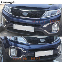 High Quality For K1a Sorento 2013-2014 car body front fog light lamp detector frame ABS Chrome trim sticks parts 4pcs