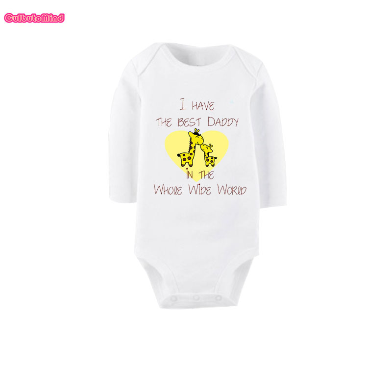 Culbutomind I Have The Best Daddy White Long Sleeve Crawl Costume Cotton Newborn Baby Clothes Infant Creeper Baby Shower Gift ...