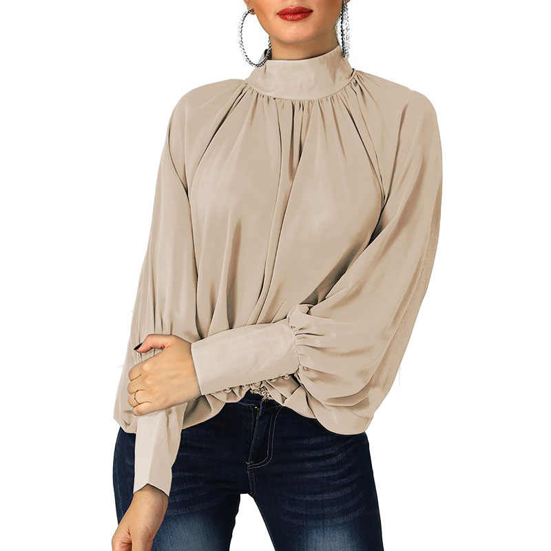 9924325a9e9 ... Womens Shirts Long Sleeve 2019 New Spring Batwing Sleeve Loose Chiffon  Blouses and Shirts Office Lady ...