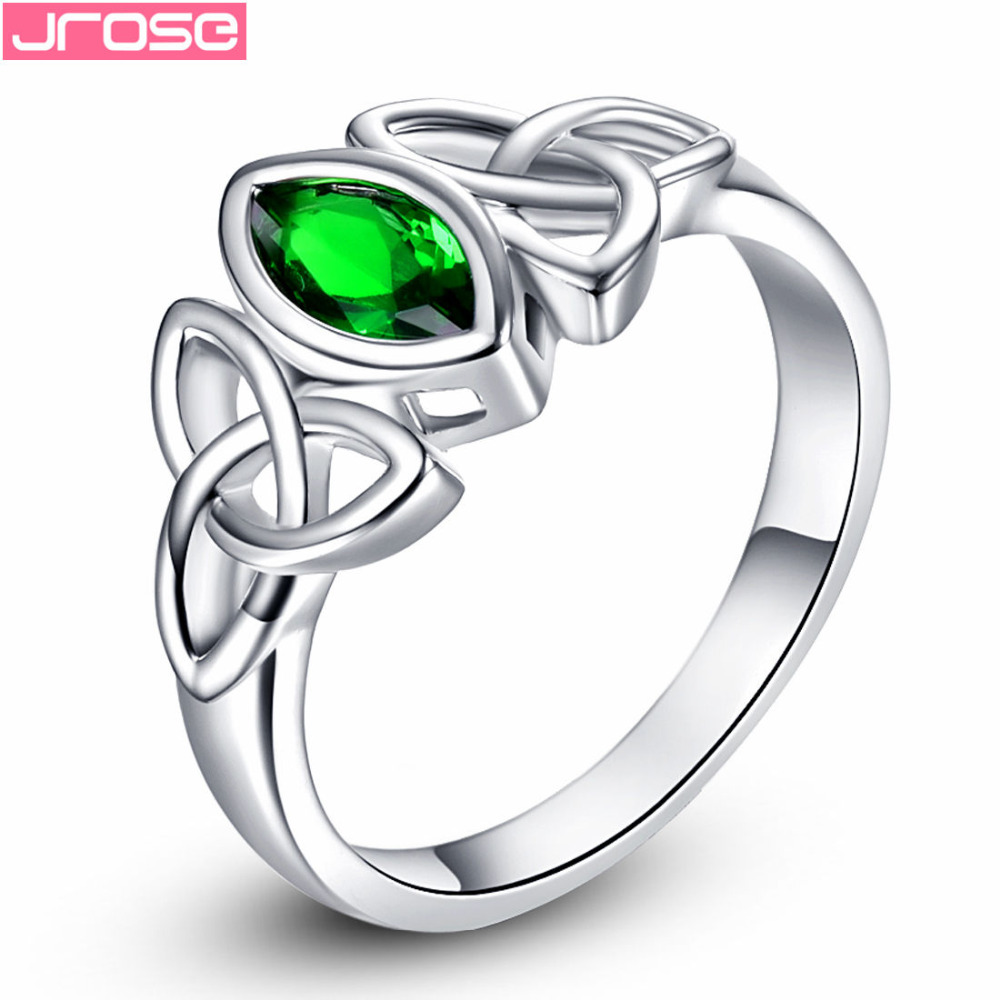 JROSE Engagement Party Green Cubic Zircon Celtic Knot Jewelry White Gold Color Ring Size 6 7 8 9 10 Anniversary Gifts For Lovers
