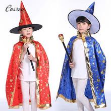 Ciemny magik kostium płaszcz Manteau lakier nawierzchniowy Cosplay kostiumy Pentagram peleryny szaty kapelusz czapki czapki płaszcz dla wakacje dla dzieci tanie tanio Unisex Kurtki Płaszcze HOLIDAY Poliester Cosrea-13 Magician