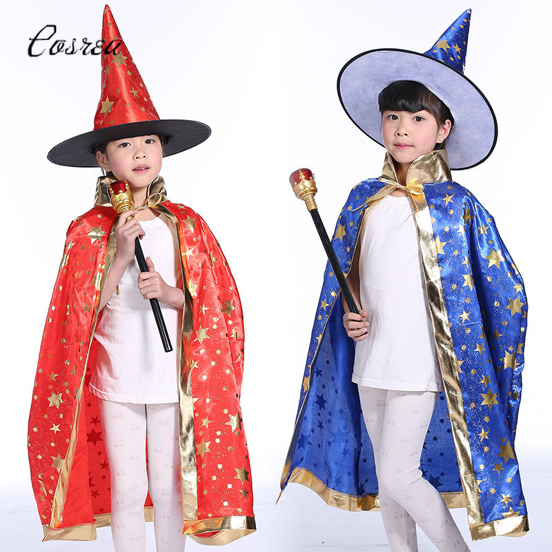 Dark Magician Costume Cloak Manteau Topcoat Cosplay Costumes Pentagram Capes Robes Hat Cap Beanies Cloak for Kids Holiday
