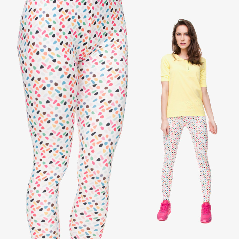 Women New Fashion Colorful Dots Leggings Digital 3D Funny Printing Women Funny Leggings For Fashion Trainnng Wear