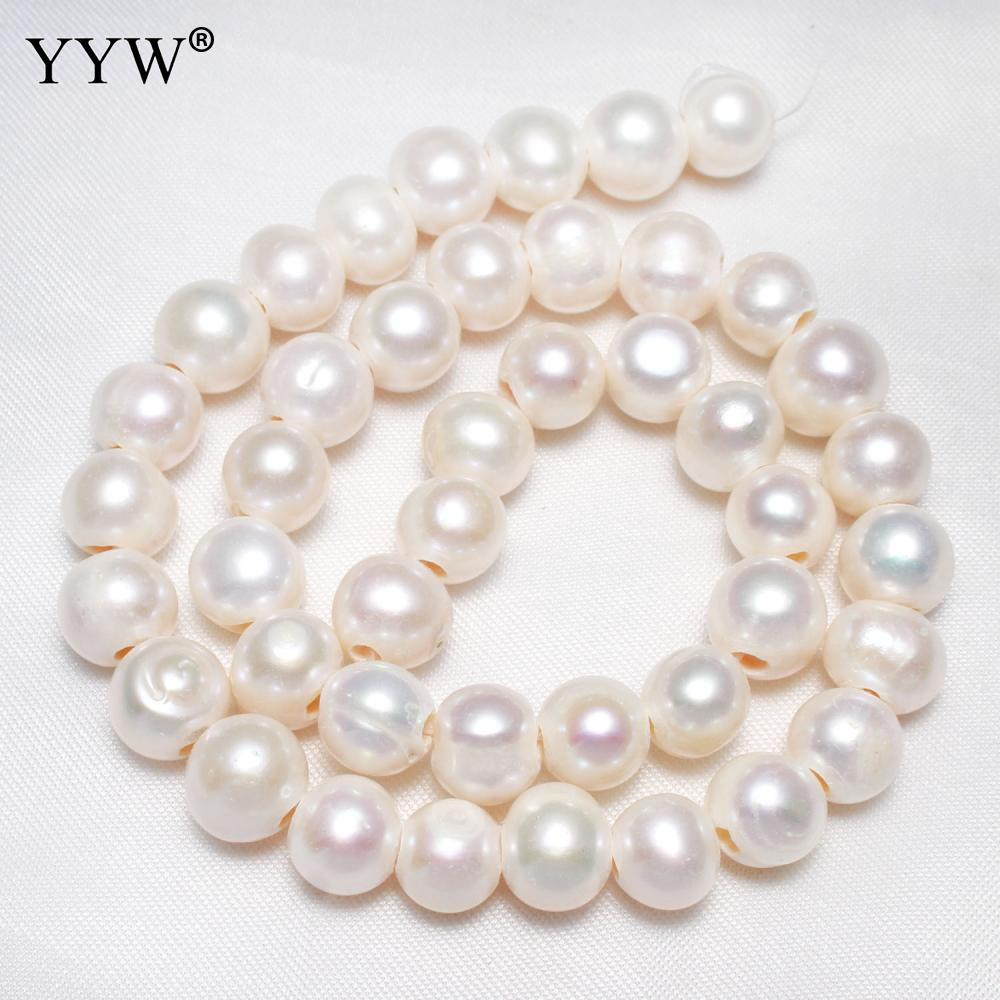 Cultured Potato Freshwater Pearl Beads korean Fashion Jewelry beads with troll 10-11mm 2.5mm 15 Inch Strand