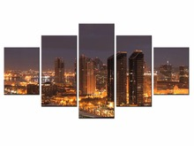 Framde 5 pieces / set of Classic city night view wall art for decorating home Decorative painting on canvas /XC-city-69