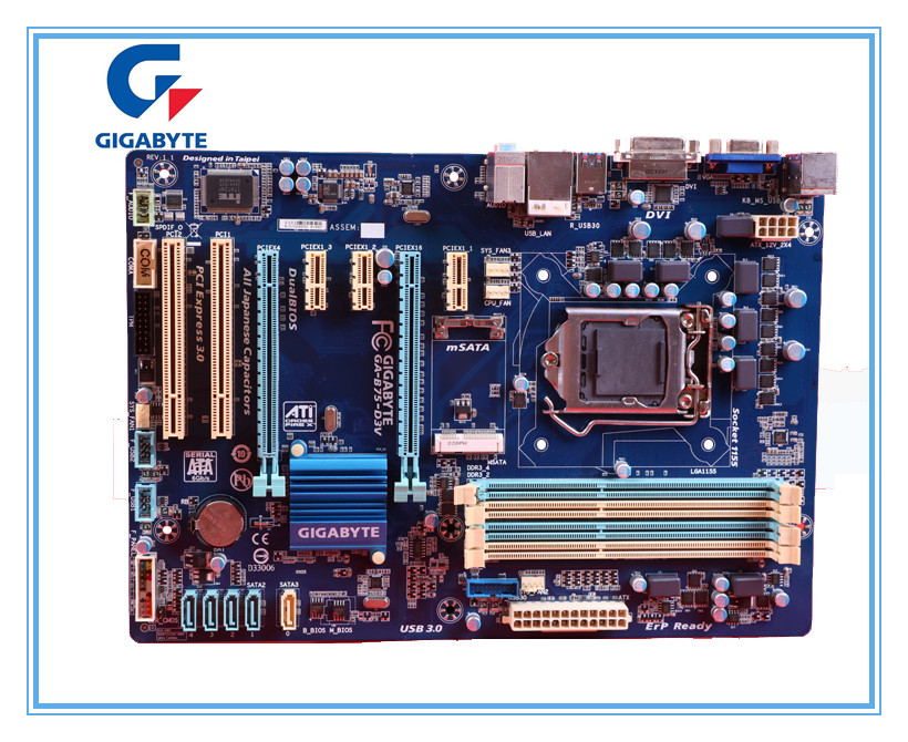GIGABYTE original desktop motherboard for  GA-B75-D3V DDR3 LGA1155 B75-D3V for I3 I5 I7 22nm CPU 32GB B75 Boards Free shipping msi original zh77a g43 motherboard ddr3 lga 1155 for i3 i5 i7 cpu 32gb usb3 0 sata3 h77 motherboard
