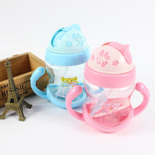 260ml Drinker Girl Boy Mini Cup With Handles Baby Straw Learn Feeding Drinking Water Cup Children Drinking Bottle Feeding Cup