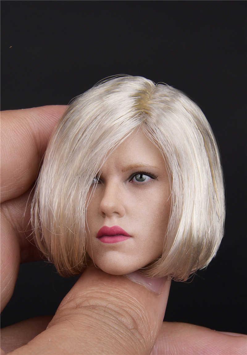 """1/6 Scarlett Johansson Black Widow 6.0 Esculpir a Cabeça Com Cabelo de prata Feminino guerreiro Modelo de cabeça Para 12 Natasha """"bronzeado figura do corpo"""