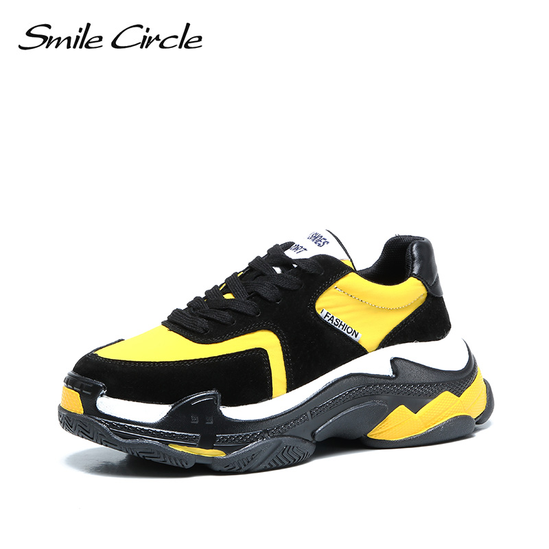 Smile Circle womens fashion sneakers platform casual shoes 2018 Autumn Lace-up mixed colors chunky sneakers ladies shoes black smile circle flat platform sneakers women fashion thick bottom lace up mixed colors casual chunky shoes autumn ladies sneakers