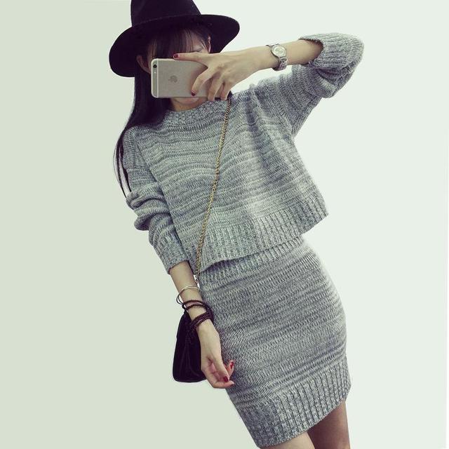 Las Mujeres forman el Suéter Y Falda Conjunto Primavera Otoño Tops + Faldas Cortas Europa Delgada de Manga Larga Traje de Punto Twinset de Las Mujeres ropa
